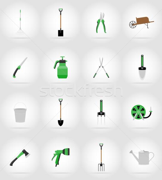 Tuingereedschap iconen geïsoleerd boom gras ontwerp Stockfoto © konturvid