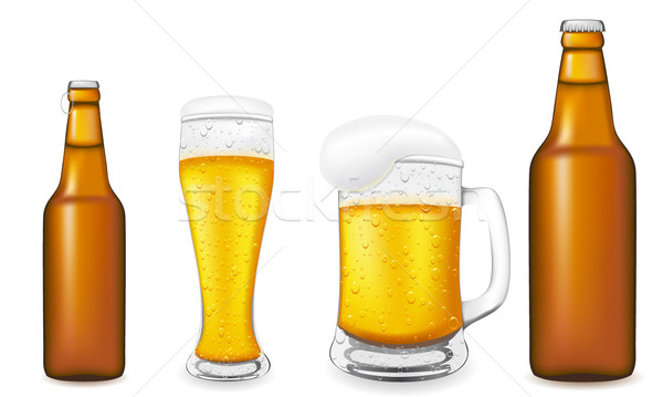 Stock photo: beer in glass and bottle vector illustration