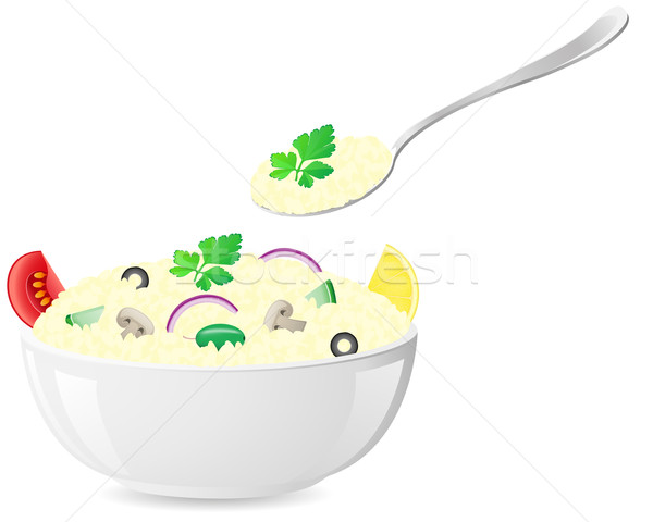 Stock photo: italian rice with vegetables vector illustration