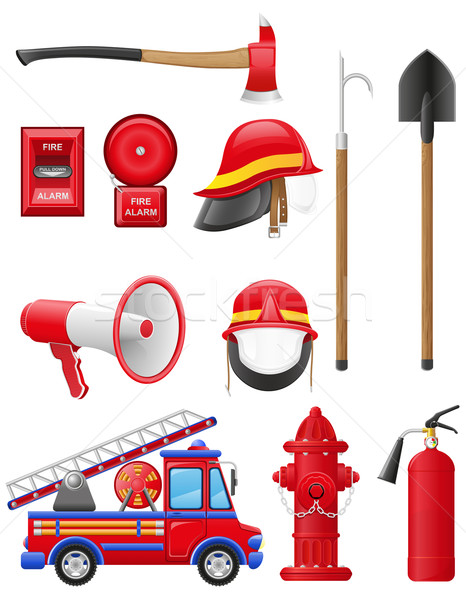 set icons of firefighting equipment vector illustration Stock photo © konturvid