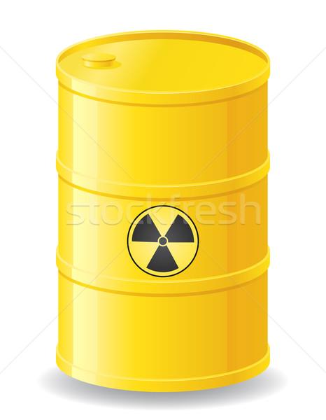 Giallo barile radioattivo rifiuti isolato bianco Foto d'archivio © konturvid
