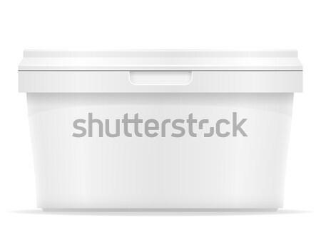 white plastic container for ice cream or dessert vector illustra Stock photo © konturvid