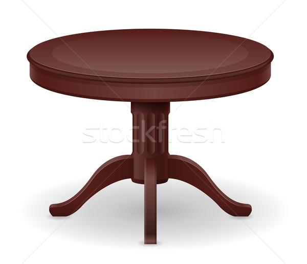 Fa asztal bútor izolált fehér asztal rajz Stock fotó © konturvid