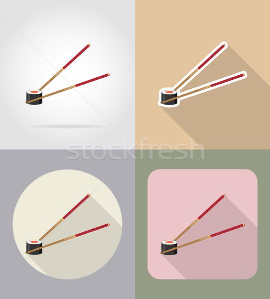 Sushi bacchette alimentare oggetti icone vettore Foto d'archivio © konturvid