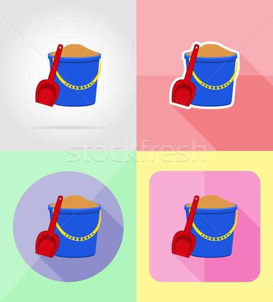 Plastikowe wiadro łopata ikona odizolowany baby Zdjęcia stock © konturvid