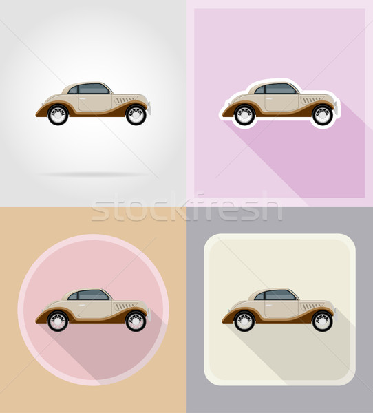 old retro car flat icons vector illustration Stock photo © konturvid