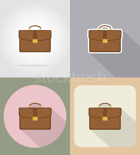 кожа портфель иконки изолированный моде дизайна Сток-фото © konturvid