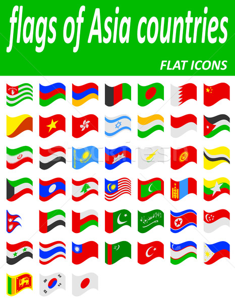 flags of asia countries flat icons vector illustration Stock photo © konturvid
