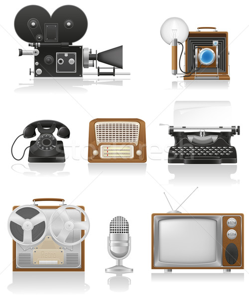 vintage and old art equipment video photo phone recording tv rad Stock photo © konturvid