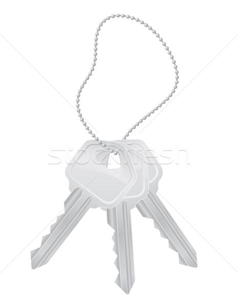 Foto stock: Conjunto · teclas · porta · trancar · isolado · branco