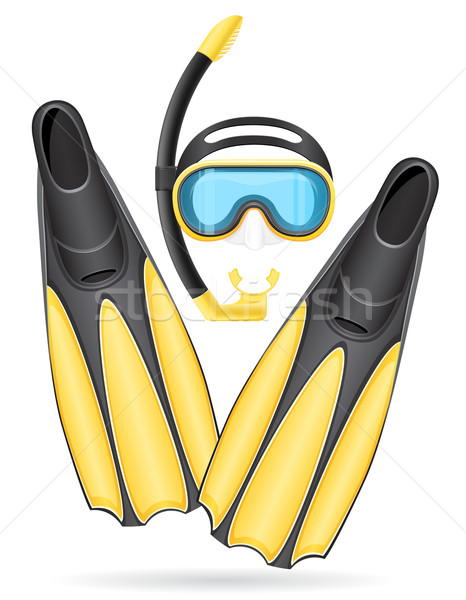 mask tube and flippers for diving vector illustration Stock photo © konturvid