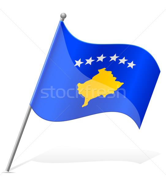 Bandeira Kosovo isolado branco globo mundo Foto stock © konturvid