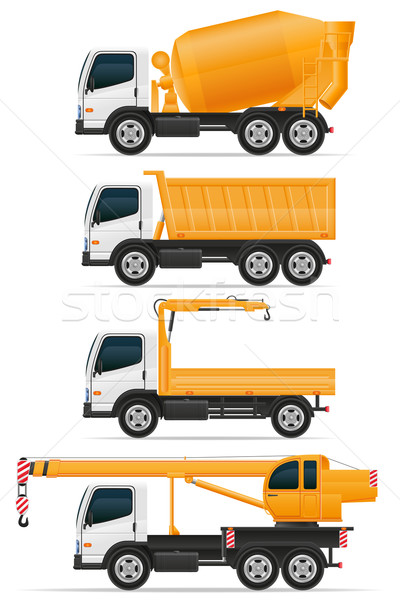 set icons trucks designed for construction vector illustration Stock photo © konturvid