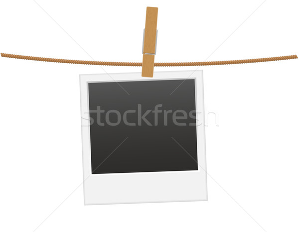 retro photo frame hanging on a rope with clothespin vector illus Stock photo © konturvid