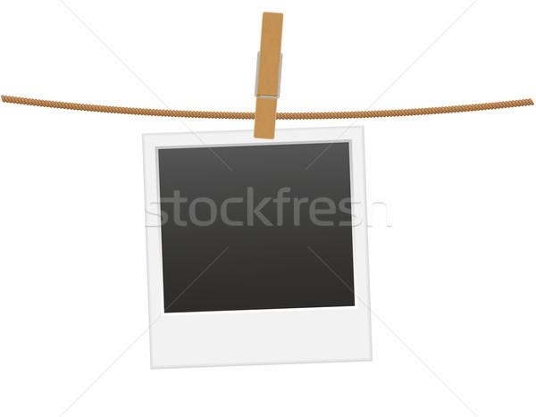 Retro photo frame enforcamento corda prendedor de roupa vetor Foto stock © konturvid