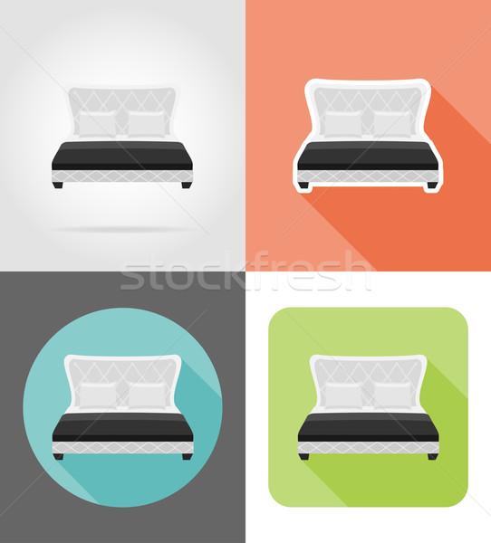 ストックフォト: ベッド · 家具 · セット · アイコン · 孤立した · 白