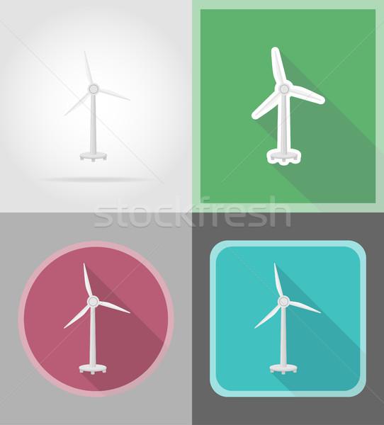 Aerogenerador iconos aislado naturaleza industria industrial Foto stock © konturvid