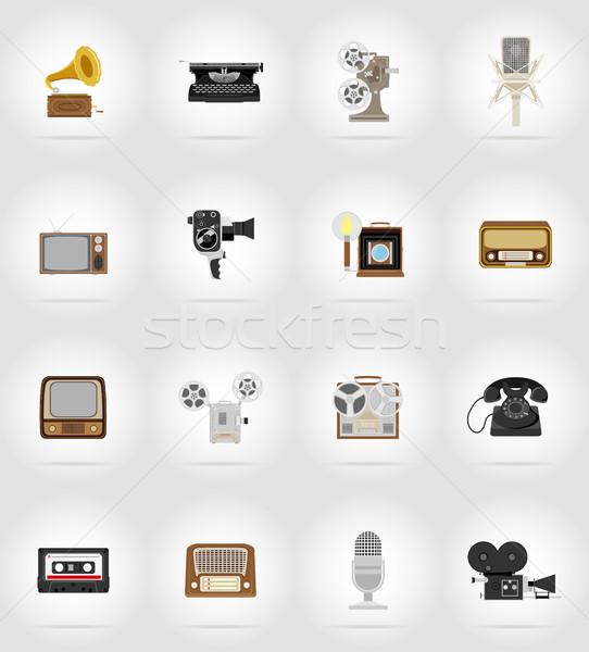 öreg retro klasszikus multimédia ikonok izolált Stock fotó © konturvid