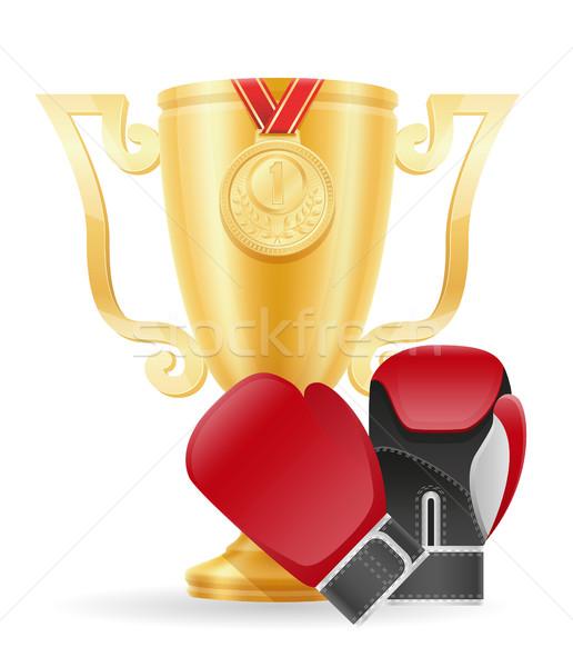 boxing cup winner gold stock vector illustration Stock photo © konturvid
