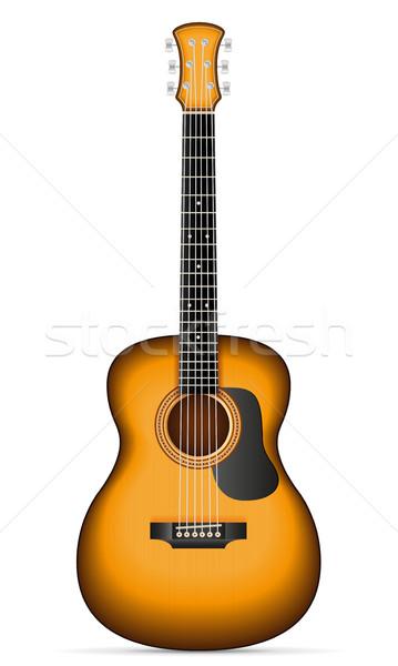 Akustik gitar stok yalıtılmış beyaz müzik kaya Stok fotoğraf © konturvid