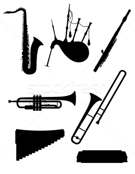 wind musical instruments set icons black outline silhouette stoc Stock photo © konturvid
