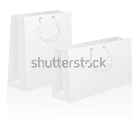 set of white blank paper shoping bag vector illustration Stock photo © konturvid