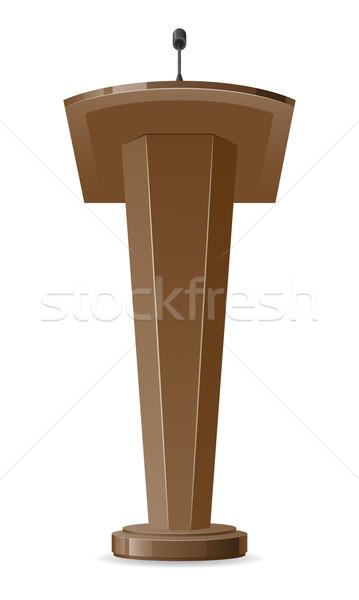 Izolált fehér mikrofon színpad torony interjú Stock fotó © konturvid