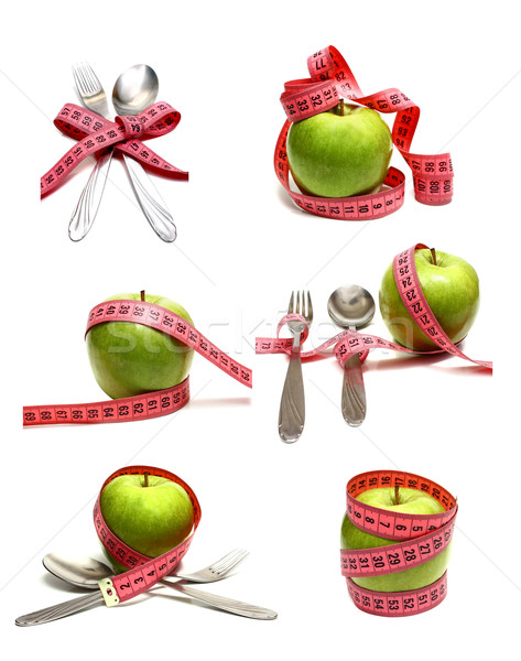 spoon fork and apple is strung by a ribbon for measuring diet Stock photo © konturvid