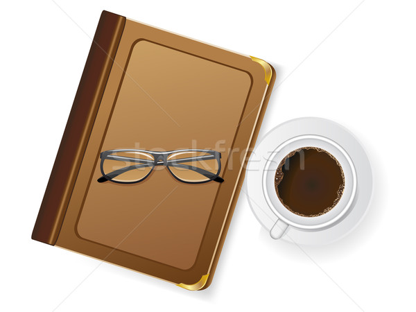 cups of coffee and with glasses Stock photo © konturvid