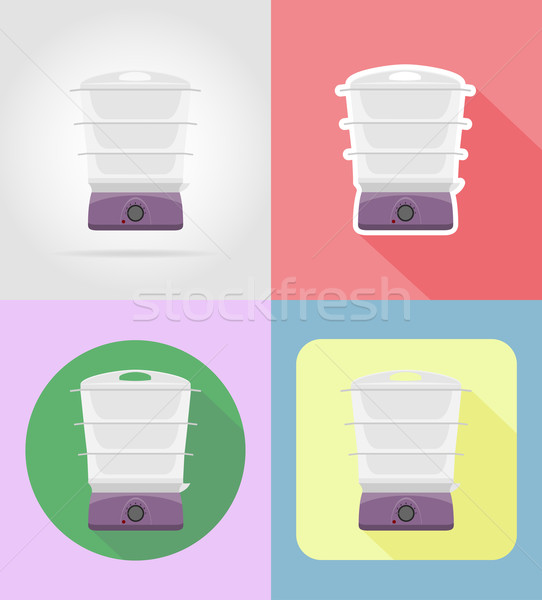 steamer household appliances for kitchen flat icons vector illus Stock photo © konturvid
