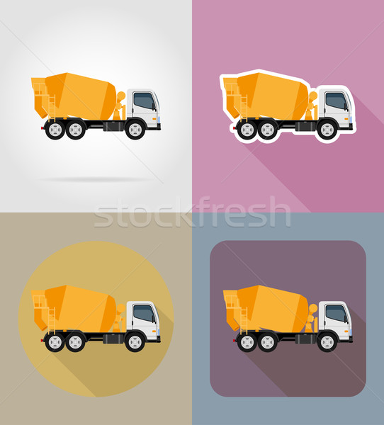 truck concrete mixer for construction flat icons vector illustra Stock photo © konturvid