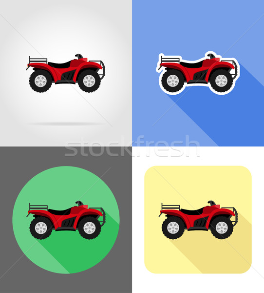 atv motorcycle on four wheels off roads flat icons vector illust Stock photo © konturvid