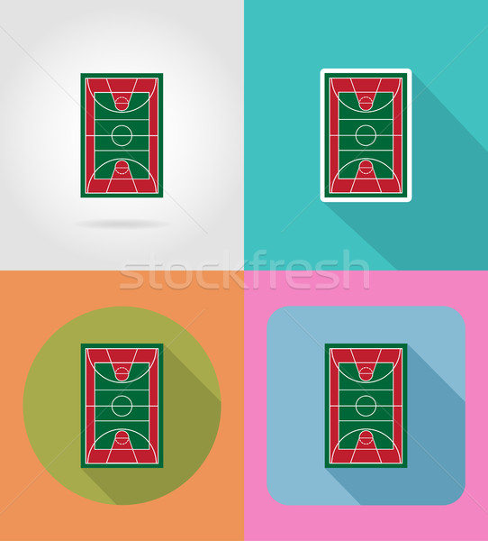 Stock photo: basketball court flat icons vector illustration