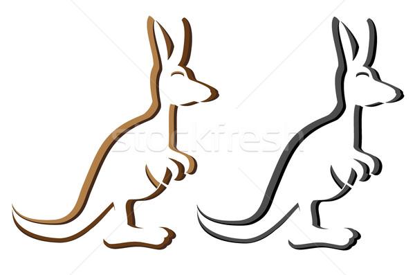 Kenguru embléma logotípus sziluett izolált fehér Stock fotó © konturvid
