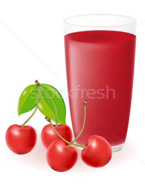 Foto stock: Cereza · jugo · aislado · blanco · agua · verano