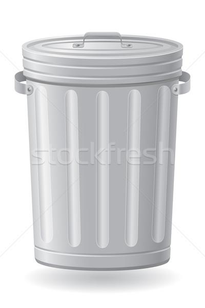 Cesto de lixo isolado branco fundo metal caminhão Foto stock © konturvid
