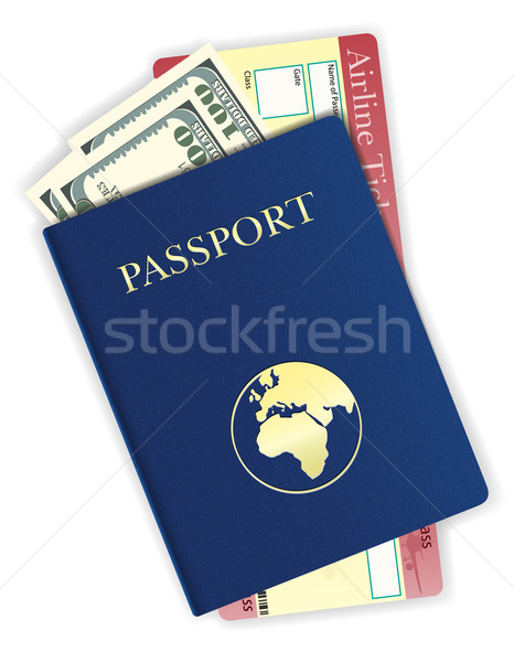 passport with money and airline ticket vector illustration Stock photo © konturvid