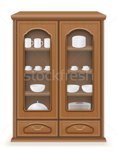 cupboard furniture made of wood vector illustration Stock photo © konturvid
