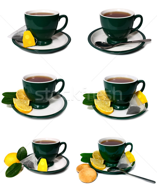 cup of tea with a lemon and biscuit Stock photo © konturvid