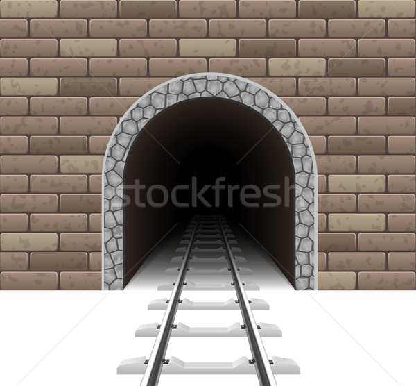 Chemin de fer tunnel isolé blanche fond pont Photo stock © konturvid