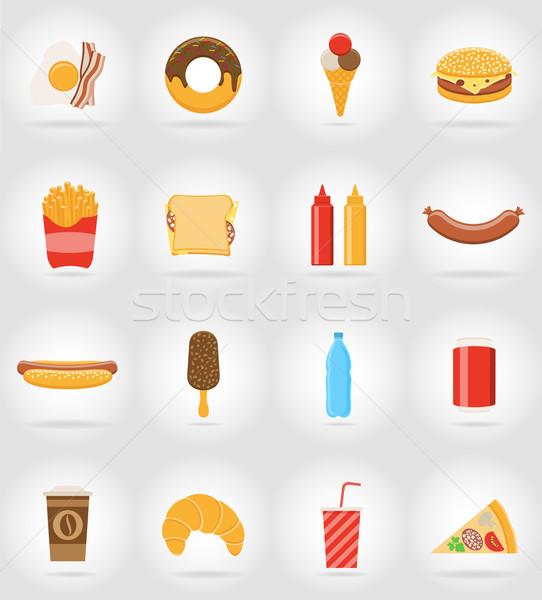 Fast food iconen schaduw geïsoleerd water voedsel Stockfoto © konturvid