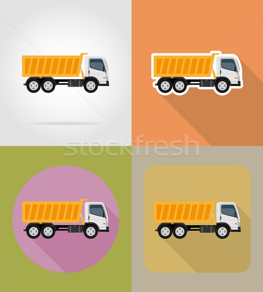 tipper truck for construction flat icons vector illustration Stock photo © konturvid