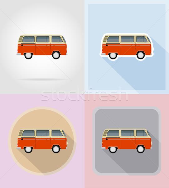 Retro mikrobusz ikonok izolált terv ajtó Stock fotó © konturvid