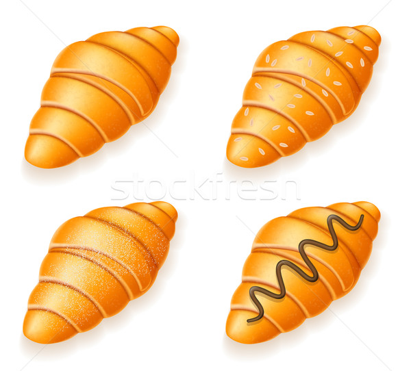 set icons of fresh crispy croissants with sesame seeds chocolate Stock photo © konturvid