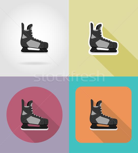 hockey skates flat icons vector illustration Stock photo © konturvid