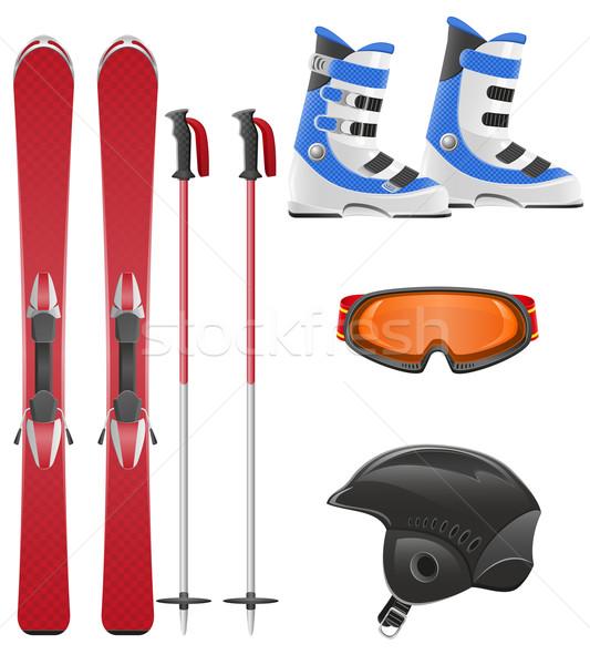 ski equipment icon set vector illustration Stock photo © konturvid