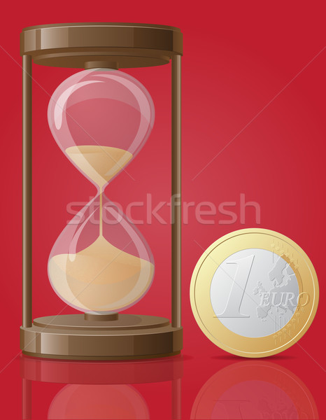 old retro hourglass and one coin euro vector illustration Stock photo © konturvid
