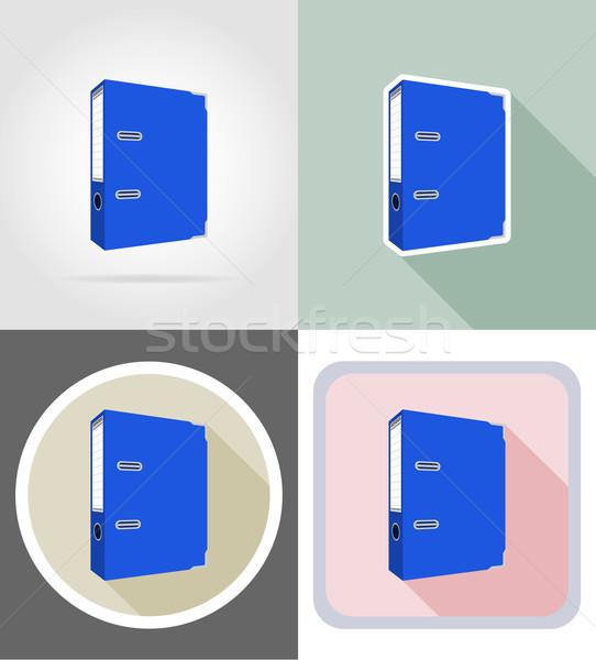 Dobrador artigos de papelaria equipamento conjunto ícones isolado Foto stock © konturvid
