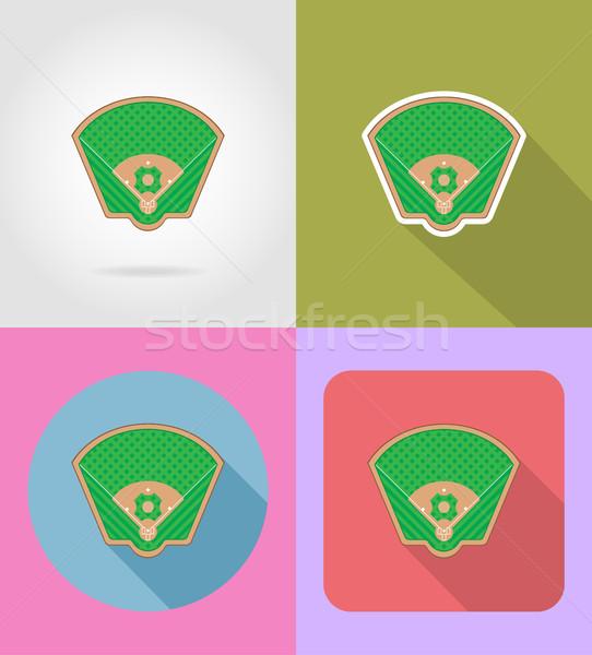 Baseball pálya ikonok vektor izolált otthon háttér Stock fotó © konturvid