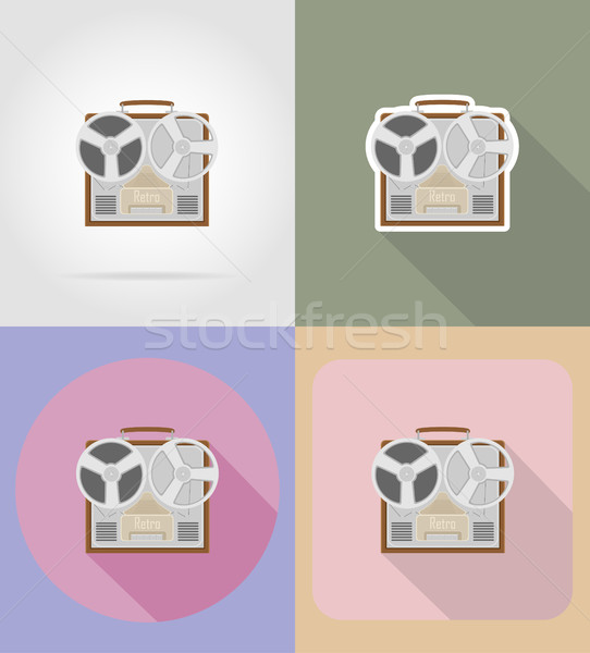 old retro vintage recorder flat icons vector illustration Stock photo © konturvid